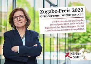 Körber-Stiftung sucht mit Zugabe-Preis wieder Gründer*innen 60plus