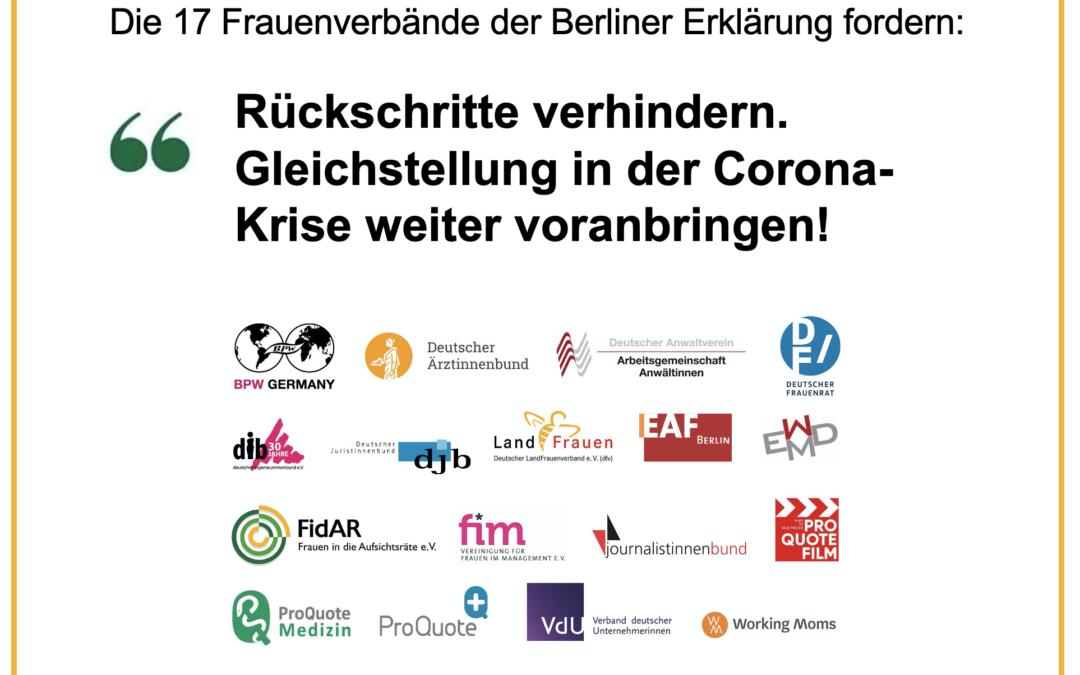 Berliner Erklärung: Gleichstellung in der Corona-Krise weiter voranbringen!
