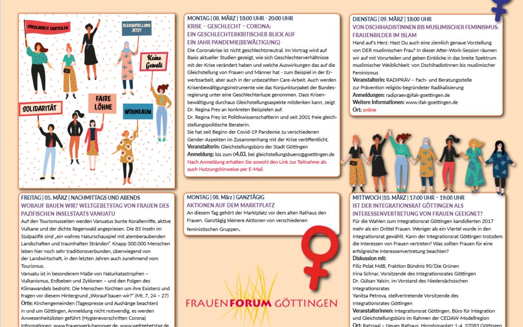 Das Frauen Forum Göttingen lädt ein zum Internationalen Frauentag
